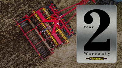 2 year warranty for Vaderstad machines